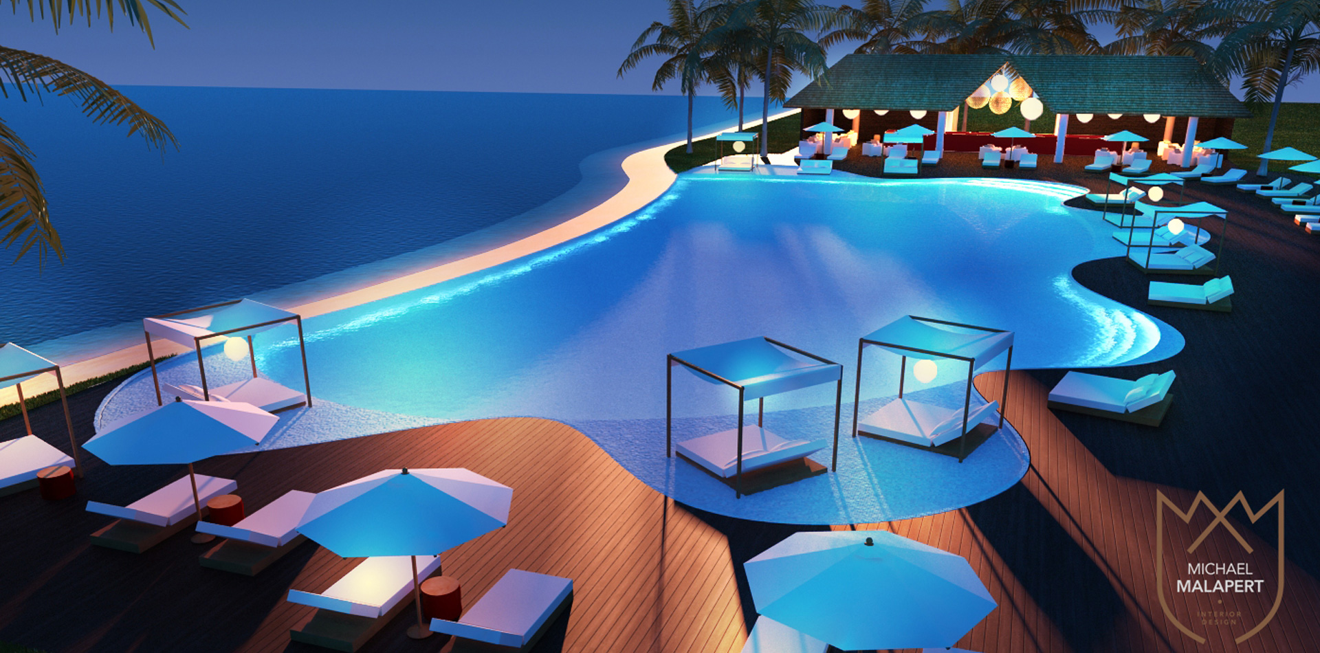 Concours piscine bar michael malapert interior design for Concours club piscine